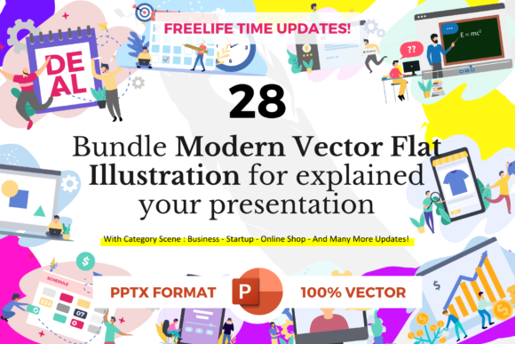Download Free Bundle 28 Pack Flat Illustration Graphic By Rivatxfz Creative for Cricut Explore, Silhouette and other cutting machines.