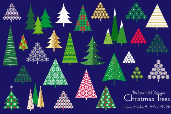 Christmas Trees Vector Clipart Graphic Illustrations By Melissa Held Designs