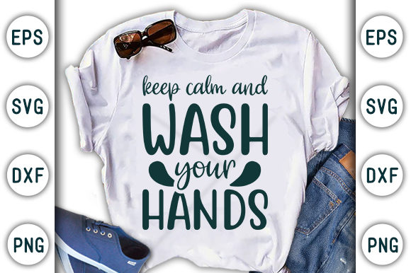 Print on Demand: Corona Design, Keep Calm and Wash Your Graphic Print Templates By CraftStudio - Image 1