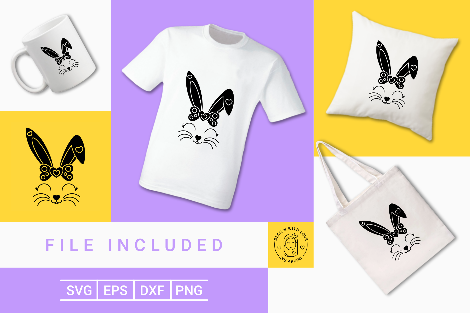 Download Free Cute Bunny Girl Silhouette Graphic By Ayuariani Creative Fabrica for Cricut Explore, Silhouette and other cutting machines.