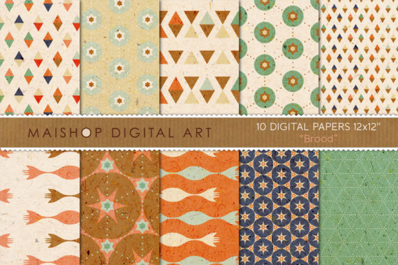 Print on Demand: Digital Paper Pack Brood Set 01 Graphic Patterns By Maishop
