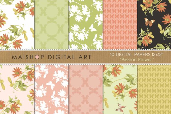 Print on Demand: Digital Paper Pack Passion Flower Set 01 Graphic Patterns By Maishop