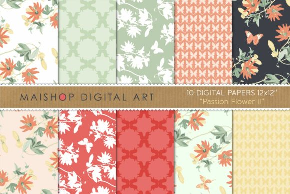 Print on Demand: Digital Paper Pack Passion Flower Set 02 Graphic Patterns By Maishop