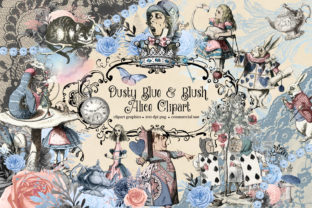 Print on Demand: Dusty Blue and Blush Pink Vintage Alice Graphic Illustrations By Digital Curio