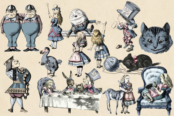 Print on Demand: Dusty Blue and Blush Pink Vintage Alice Graphic Illustrations By Digital Curio - Image 2