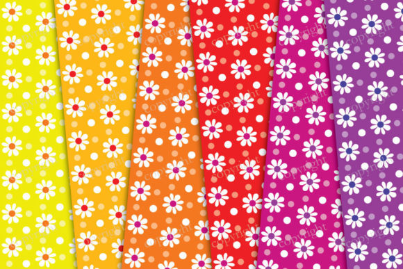 Download Free Flowers Rainbow Digital Paper Graphic By Sweetdigidesign for Cricut Explore, Silhouette and other cutting machines.