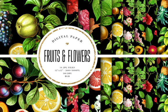 Print on Demand: Fruits & Flowers on Black Background Grafik Hintegründe von Sabina Leja