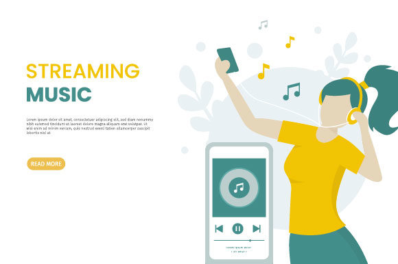 Download Free Girls Listen To Streaming Music Graphic By H12 Creative Fabrica for Cricut Explore, Silhouette and other cutting machines.