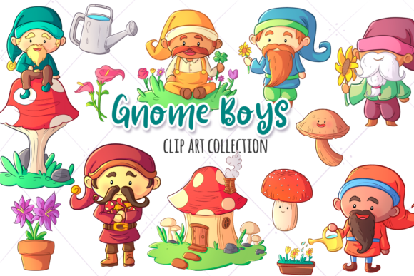 Print on Demand: Gnome Boys Clip Art Collection Graphic Illustrations By Keepinitkawaiidesign