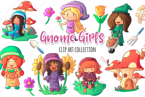 Print on Demand: Gnome Girls Collection Graphic Illustrations By Keepinitkawaiidesign