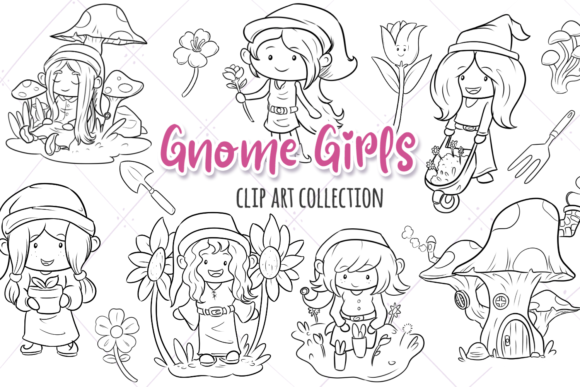 Print on Demand: Gnome Girls Digital Stamps Graphic Illustrations By Keepinitkawaiidesign