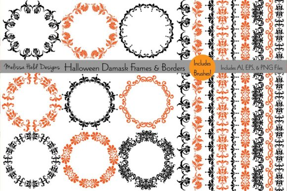 Halloween Damask Frames Borders Graphic By Melissa Held