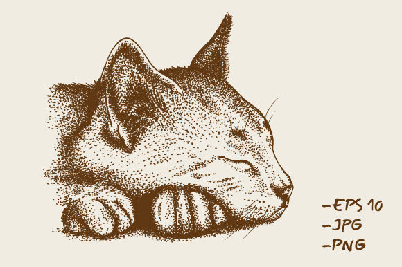 Download Free Hand Drawn Cat Animal Pointillism Graphic By Rimbu Creative for Cricut Explore, Silhouette and other cutting machines.