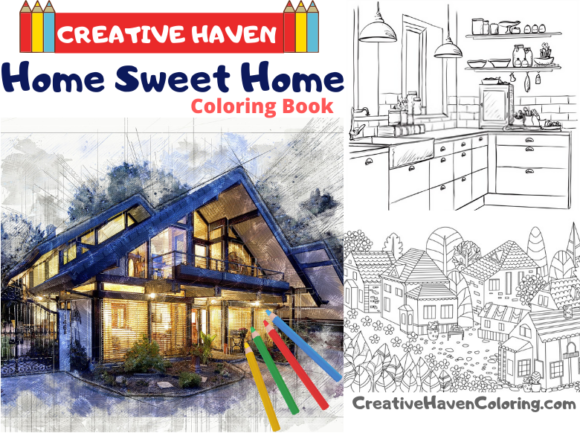 Home Sweet Home Coloring Book for Aduts Graphic Coloring Pages & Books Adults By coloringpages