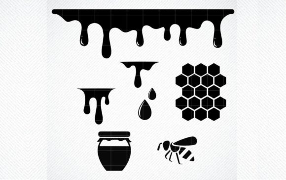 Print on Demand: Honey Drips Honeycomb Dripping Graphic Crafts By SVG DEN