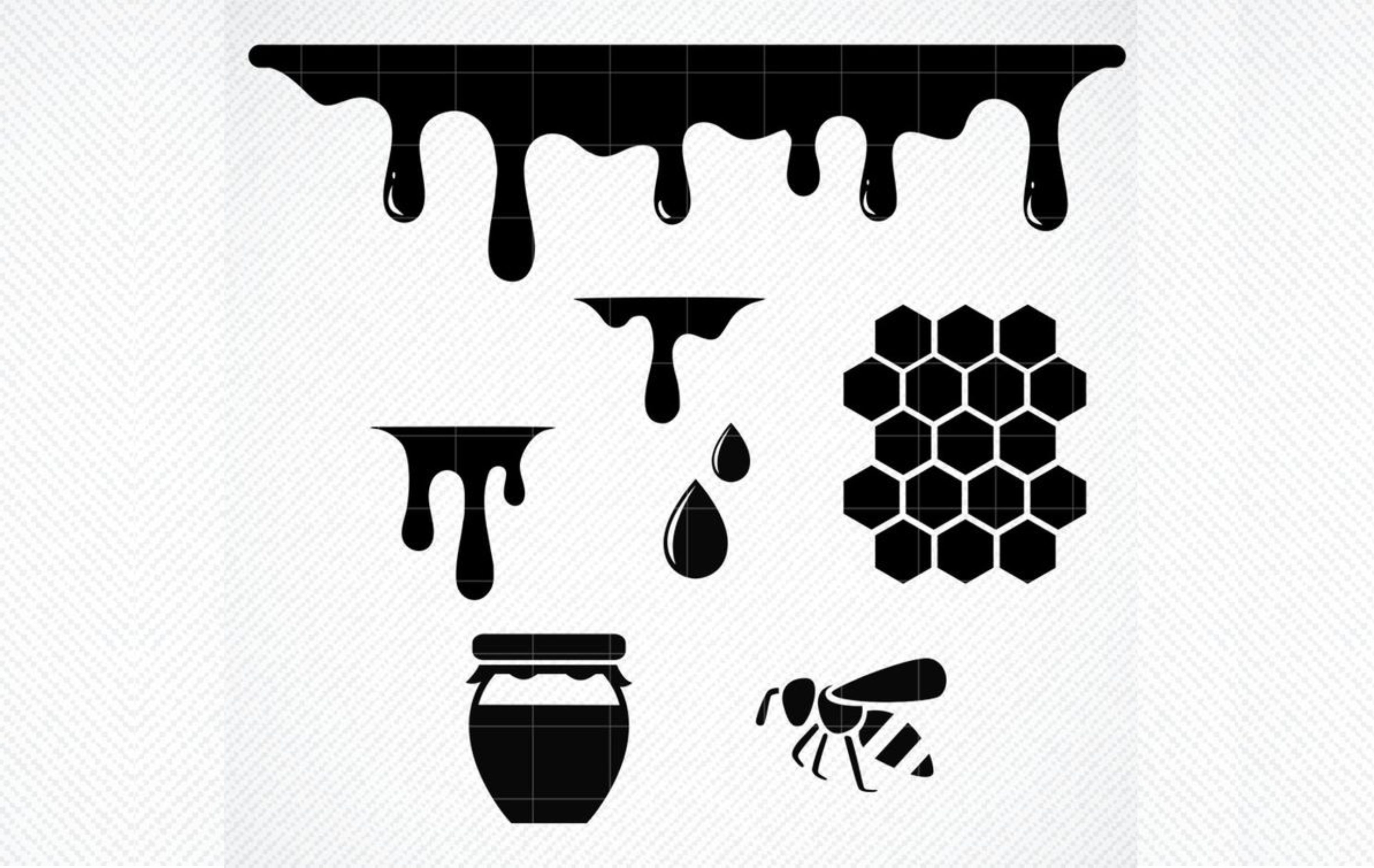 Download Free Honey Drips Honeycomb Dripping Graphic By Svg Den Creative Fabrica for Cricut Explore, Silhouette and other cutting machines.