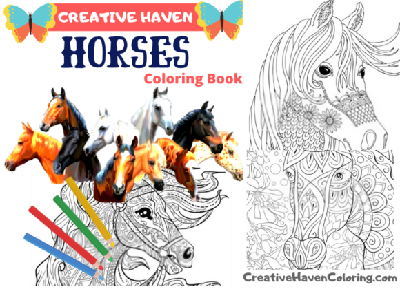 - 19 Horse Adult Coloring Book Designs & Graphics