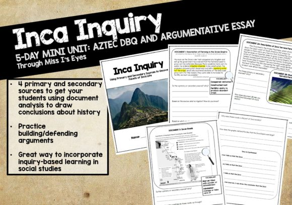 Inca DBQ - Inquiry-Based Social Studies Graphic 5th grade By Through Miss I's Eyes