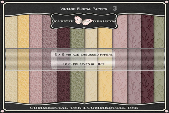 Print on Demand: Vintage Floral Papers Graphic Backgrounds By KarenP.Designs