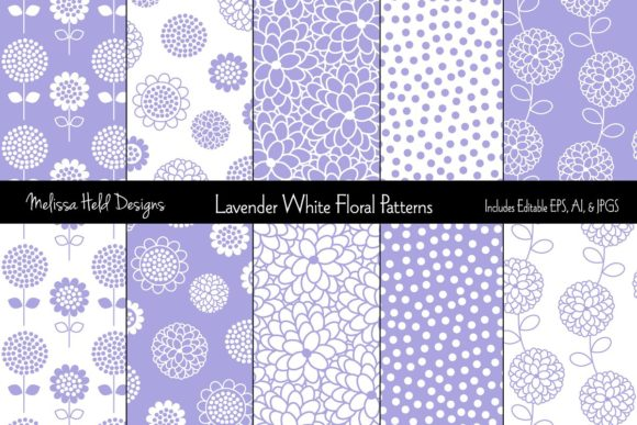 Lavender White Floral Patterns Graphic Patterns By Melissa Held Designs