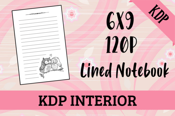 Print on Demand: Lined Notebook with Owls | KDP Interior Graphic KDP Interiors By Hungry Puppy Studio