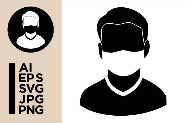Download Free Male Avatar Icon With A Mask Graphic By Masnung Creative Fabrica for Cricut Explore, Silhouette and other cutting machines.