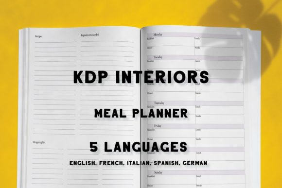 Print on Demand: Meal Planner KDP Interior in 5 Languages Graphic KDP Interiors By Income Plum