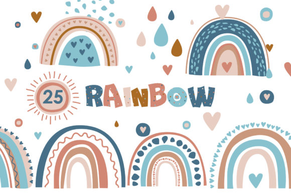 Modern Rainbow Digital Clipart Set Graphic Illustrations By lena-dorosh