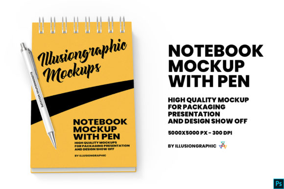 Download Free Notebook Mockup With Pen Graphic By Illusiongraphicdesign for Cricut Explore, Silhouette and other cutting machines.