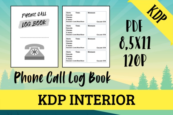 Print on Demand: Phone Call Log Book | KDP Interior Graphic KDP Interiors By Hungry Puppy Studio