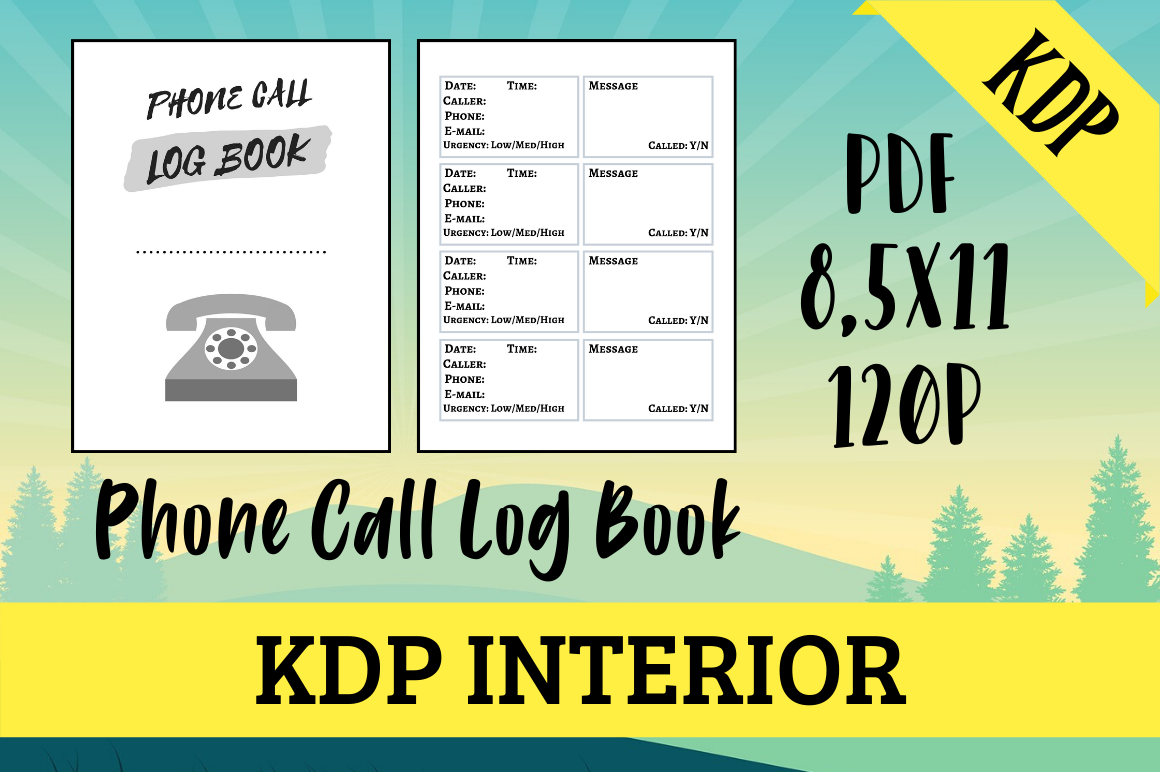 Download Free Phone Call Log Book Kdp Interior Graphic By Hungry Puppy for Cricut Explore, Silhouette and other cutting machines.