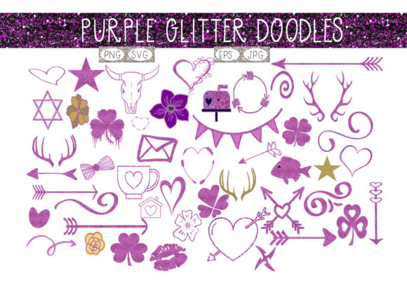 Download Free Purple Glitter Doodles Graphic By Capeairforce Creative Fabrica for Cricut Explore, Silhouette and other cutting machines.
