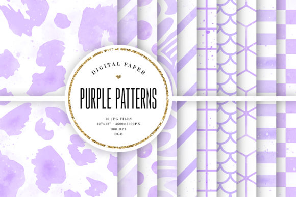 Print on Demand: Purple Watercolor Patterns Digital Paper Graphic Backgrounds By Sabina Leja