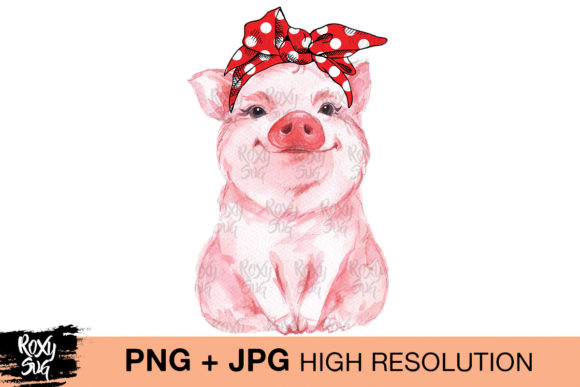 Print on Demand: Red Bandana Pig  Graphic Crafts By roxysvg26