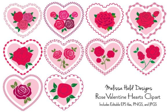 Download Free Roses In Heart Frames Vector Clipart Graphic By Melissa Held Designs Creative Fabrica for Cricut Explore, Silhouette and other cutting machines.