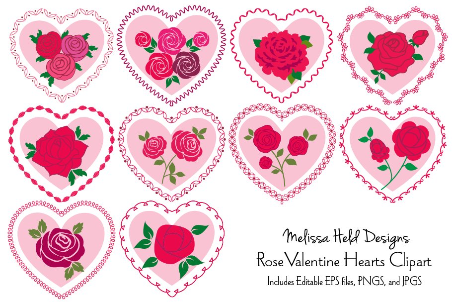Download Free Roses In Heart Frames Vector Clipart Graphic By Melissa Held for Cricut Explore, Silhouette and other cutting machines.