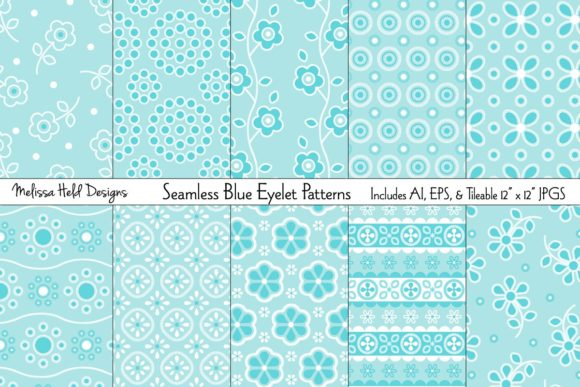 Seamless Blue Eyelet Patterns Graphic Patterns By Melissa Held Designs