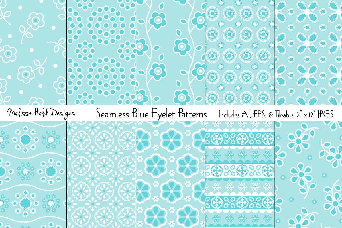 Download Free Seamless Blue Eyelet Patterns Grafico Por Melissa Held Designs for Cricut Explore, Silhouette and other cutting machines.
