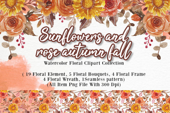 Print on Demand: Sunflowers Rose Autumn Fall Watercolor Graphic Illustrations By OrchidArt