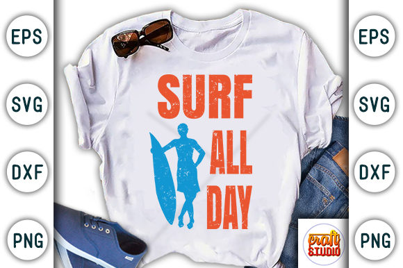 Print on Demand: Surf All Day, Summer/beach Quote Design Graphic Print Templates By CraftStudio