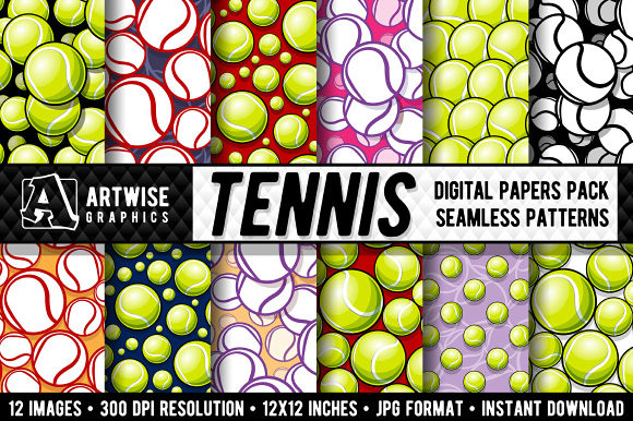 Tennis Balls Digital Paper Graphics Graphic Patterns By Artwise Graphics