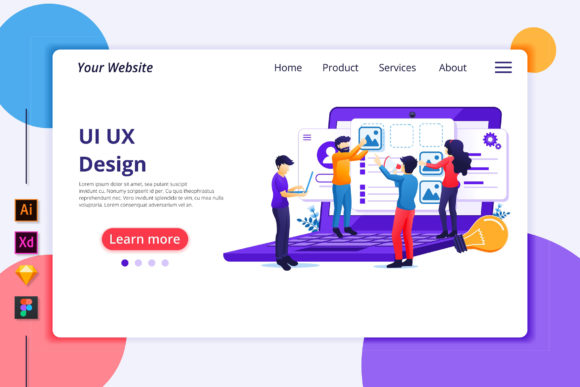 Download Free Ui Ux Design Landing Page Illustration Graphic By Agnyhasya for Cricut Explore, Silhouette and other cutting machines.
