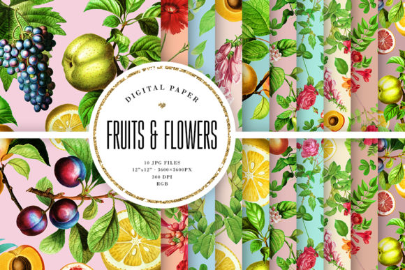 Print on Demand: Vintage Fruits & Flowers Backgrounds Grafik Hintegründe von Sabina Leja