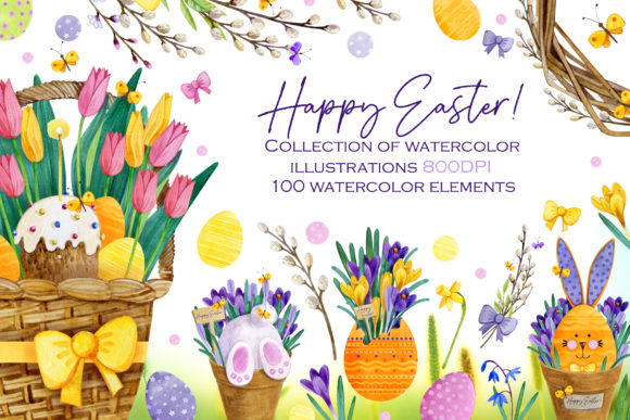 Watercolor Easter Bunnies Collection Graphic Illustrations By kris.vibe