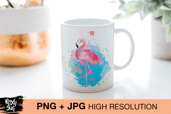 Print on Demand: Watercolor Flamingo Clipart Graphic Crafts By roxysvg26 - Image 2