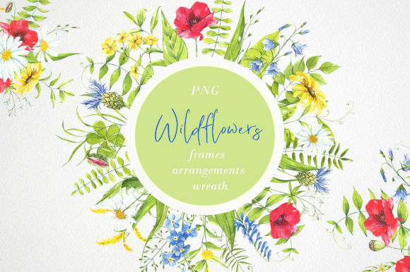 Print on Demand: Watercolor Flower Clipart. Wildflowers Graphic Illustrations By Angela Pylypenko