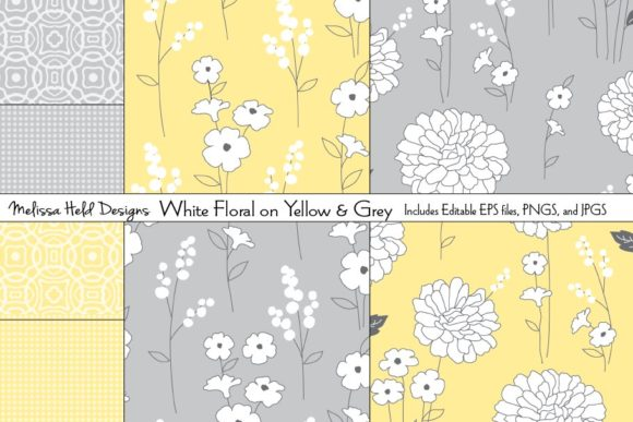 White Florals on Yellow and Grey Graphic Patterns By Melissa Held Designs