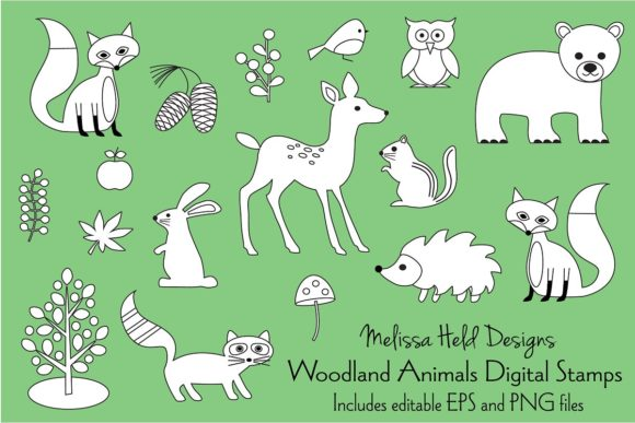 Woodland Animals Digital Stamps Graphic Illustrations By Melissa Held Designs