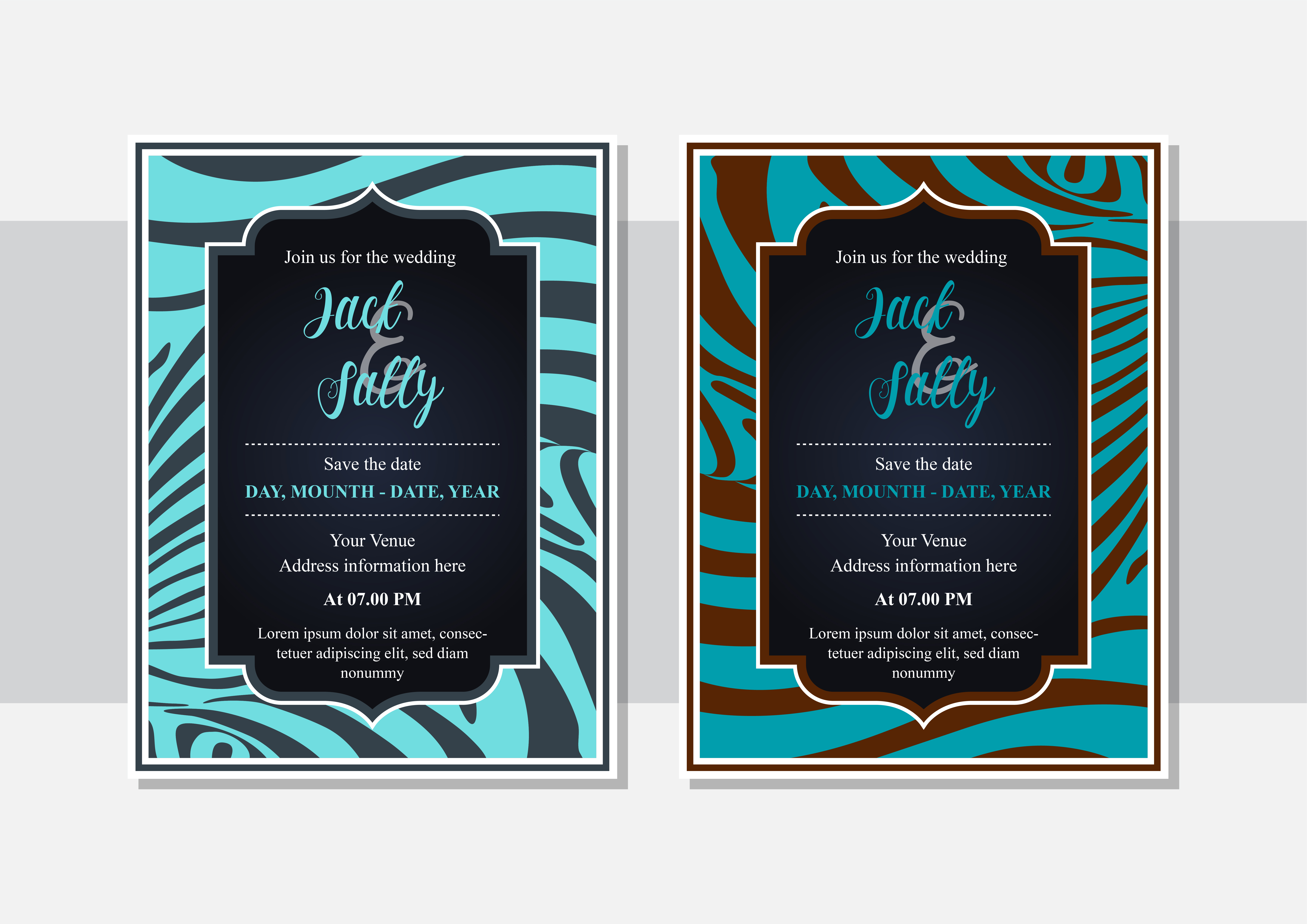 Download Free Blue Skin Invitation Wedding Zebra Graphic By Noory Shopper for Cricut Explore, Silhouette and other cutting machines.