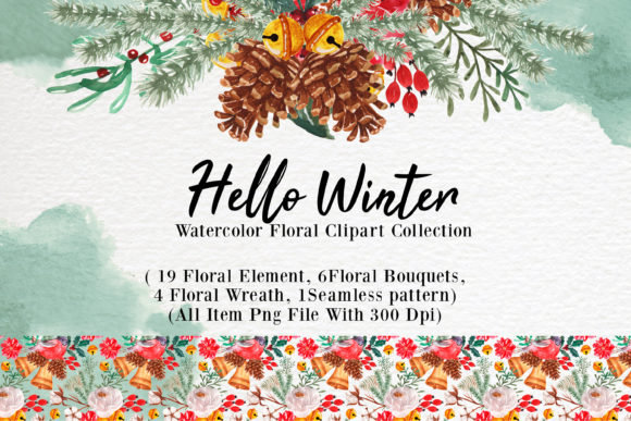 Print on Demand: Hello Winter Watercolor Illustration Set Graphic Illustrations By OrchidArt - Image 1